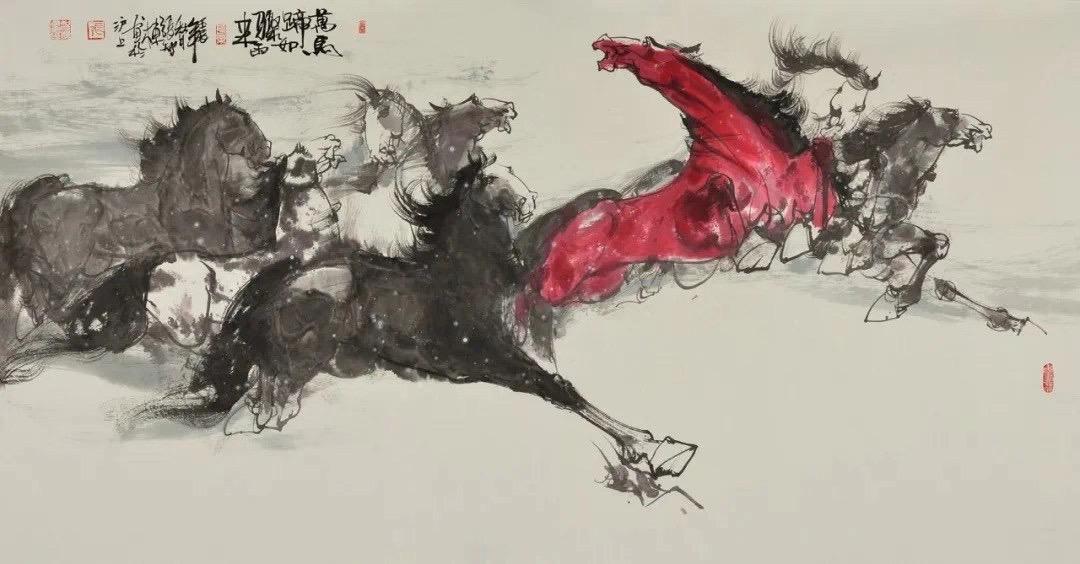 张智棟中国画作品八骏图系列收藏推荐 作品名称:《万马蹄如骤雨来》  